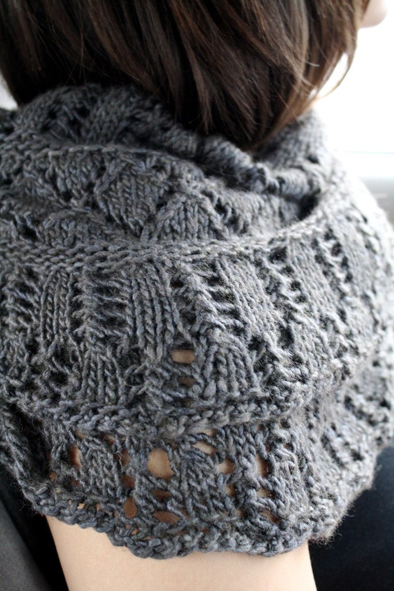 Knitting Pattern For Lace Snood : Cowl KNITTING PATTERN PDF File- Lace Circle Scarf, Cowl, Snood - Balustrade f...