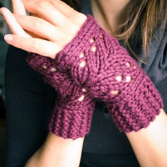 Knit Lace Fingerless Mitts -  Merino Wool - Plum Purple