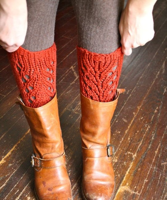KNITTING PATTERN  PDF File - Lacefield Knit Legwarmers - Boot Toppers - Chunky Lace