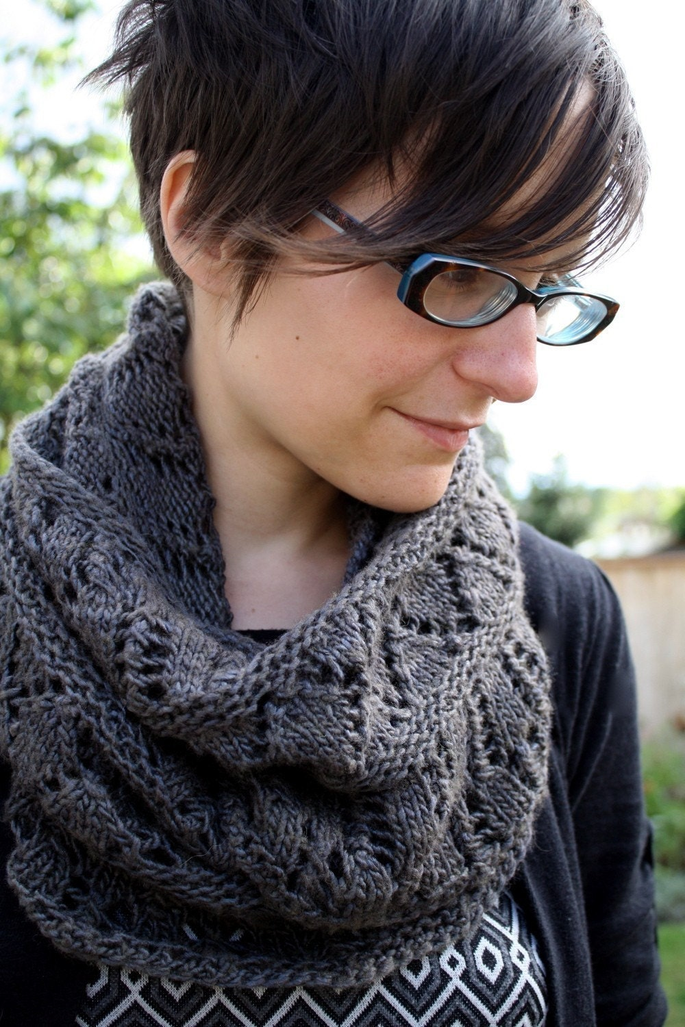 Knitting Pattern For Lace Snood : Cowl KNITTING PATTERN Lace Circle Scarf Cowl Snood
