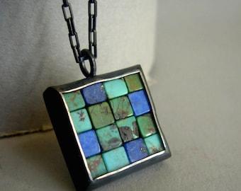 Mosaic Necklace - Lapis Lazuli Turquoise Silver Pendant - Mosaic Pendant - Square Pendant - Blue Silver Pendant - Blue Green Mosaic Jewelry