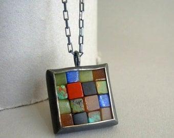 Mosaic Necklace -  Gemstones & Silver