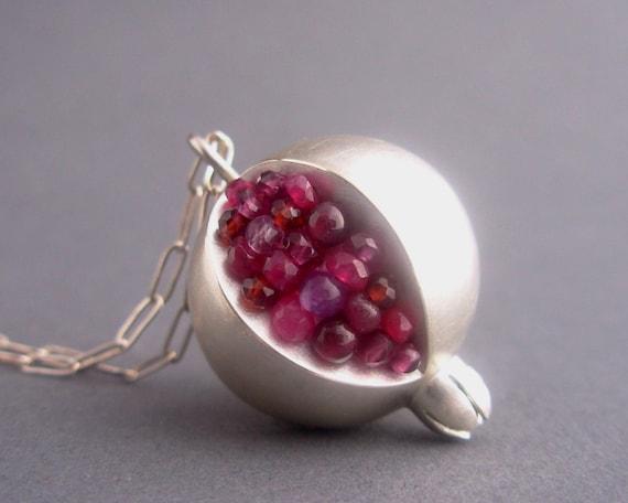 Pomegranate Pendant - Red Pink Gemstones Matte/Brushed Silver