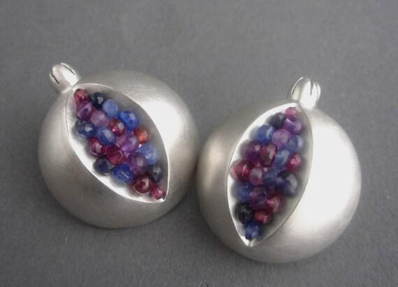 Pomegranate Ear Clips -- Purple Blue Gemstone Earrings - Large Silver Clip Earrings
