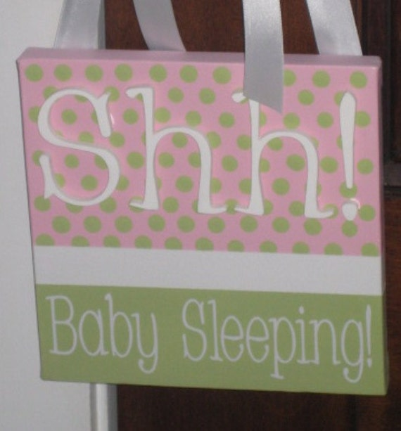 """8"""" x 8"""" Baby Sleeping Door Sign in Pink and Green- Made to order, select colors"""