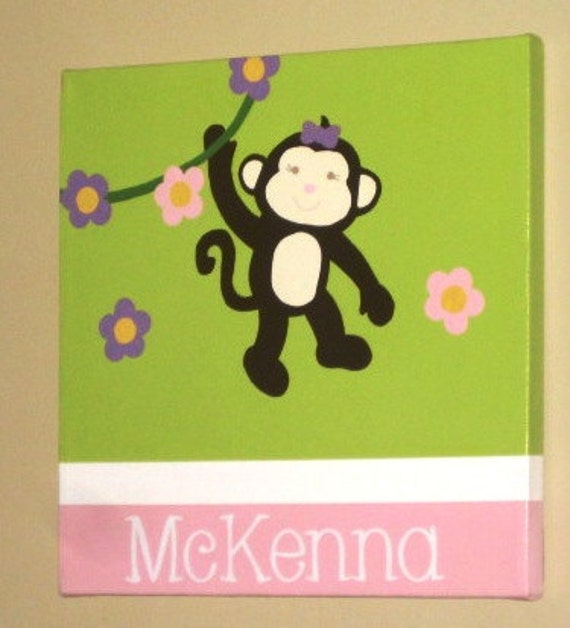 """Wall Words Hand-Painted Wood on 12"""" x 12"""" Canvas-Initial and Name Green Pink Trees Monkeys"""