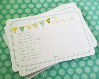 Professionally Printed Neutral Wishes for Baby Cards - Unique Baby Shower Activity Game or Memory Book Idea - Yellow and Green