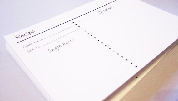 Recipe Cards - Simple Neutral Black and White 4x6 Heavy Duty Recipe Cards - No Lines, Open Space