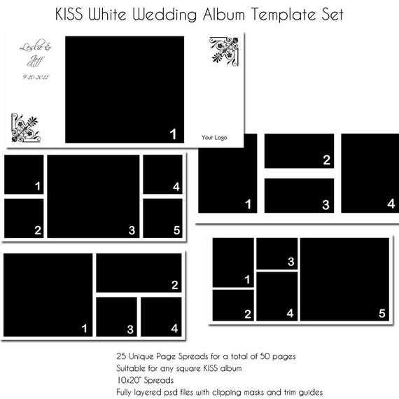 KISS White Wedding Album Template - Perfect for Photographers