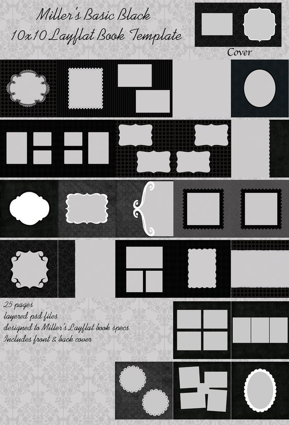 BASIC BLACK 10x10 Layflat Book Template for Photographers or Digital Scrapbookers 10 x 10 album - Photoshop PSD Files