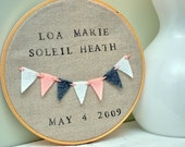 Custom Modern Baby Gift - Mini Pennants Heirloom Decor