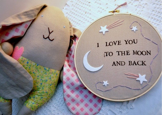 I Love You To The Moon And Back Embroidery Wall Art