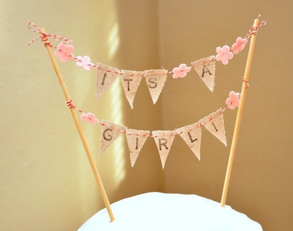 It's A Girl Cake Bunting - Baby Shower Party Flags - Hand-stamped