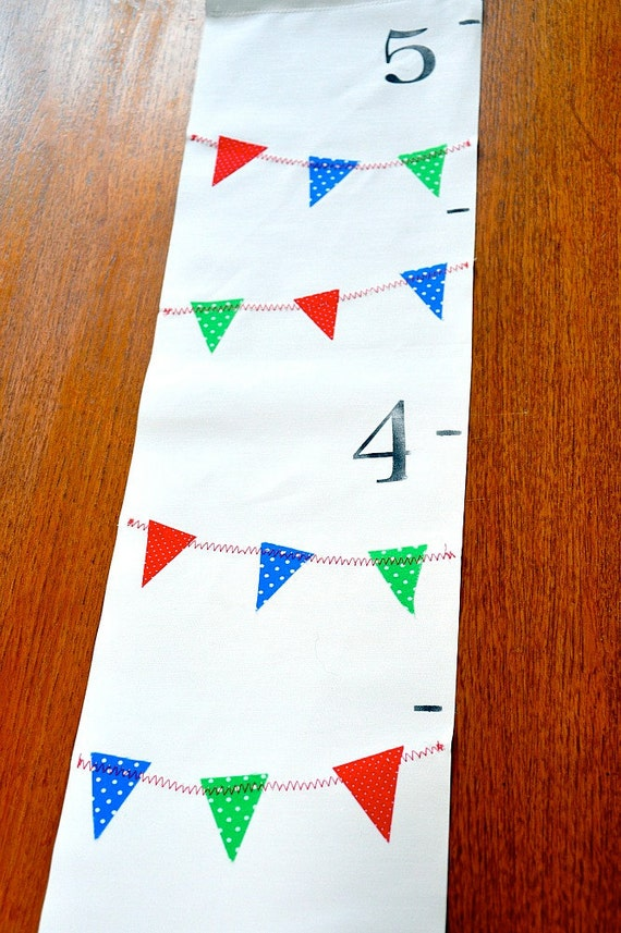 A Handmade Growth Chart - Colorful Mini Pennants Primary Colors