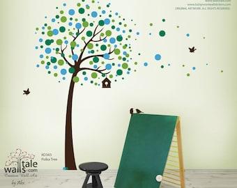 Polka Tree wall decal, Tree with Blossom circles