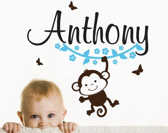 Monkey WALL DECAL with Name sticker, flowers and butterfly stickers. Door name decal.