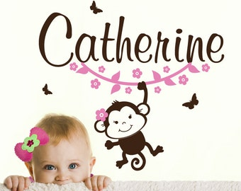 Monkey WALL DECAL with Name sticker, flowers and butterfly stickers