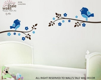 Cute Birds on Blossom Branch vinyl wall decal for you and your baby