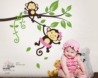 SALE Monkey wall decal, My little jungle monkeys wall decal. Jungle branch with two monkey for boy or girl nursery room.d321