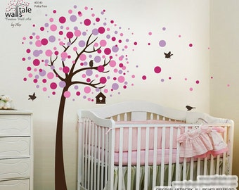 Polka Tree wall decal, Tree with Blossom circles