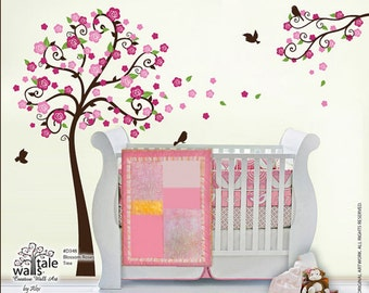 Blossom Roses Branch wall decal with birds stickers for nursery