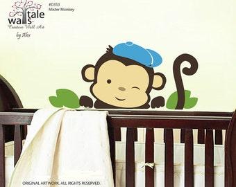 Monkey decal for baby boys nursery, boys wall stickers.