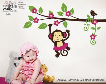 Bananafish monkey wall decal. Blossom Branch with cute girl monkey for girls nursery, room