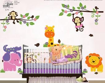 Jungle wall decal - Bananafish Jungle wall decal. Cute Jungle animals wall decals for nursery, kids room.
