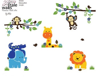 Wall decal - Bananafish Jungle wall decal. Cute Jungle animals wall decals for nursery, kids room.