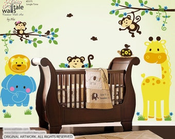 SUPER- Jungle wall stickers,  Jungle Time wall decal. Cute Jungle animals wall decal for nursery, boys room.