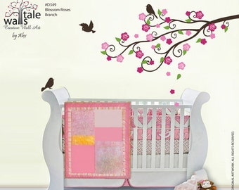 Wall Decal -  Roses Branch wall decal with birds stickers for nursery. Blossom branch wall decal for girls nursery.