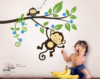 Monkey decals,My little jungle monkeys wall decal for girls and boys