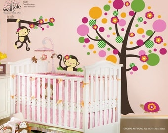 Miss Monkey Bedding, Monkey Stickers for Girls room (d287). Monkey wall decals.