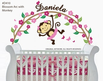 Wall Decal - Blossom Arc with Monkey and Name decal for baby room. Baby girl wall decals for nursery.