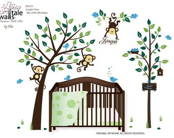 Wall Decal - Large Jungle Time wall decal with cute monkeys in tree for nursery,kids room. Very sweet little monkey great wall decals.