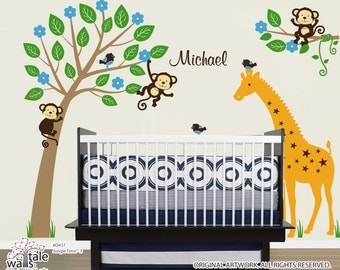 LARGE Jungle Wall Decal  with name decal, giraffe decal, monkey decals and cute birds decal. Customizable name wall decal for nurseryd436