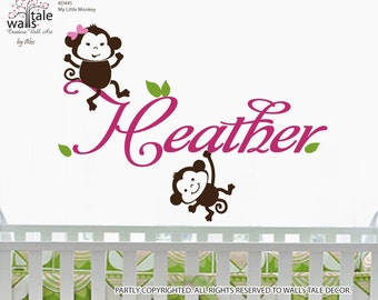 Monkey Wall Decal  with name decal for nursery, baby room wall decor. Customizable name wall decal for nursery d445