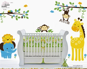 Large Jungle wall decal with giraffe,elephant,lion and monkey decals