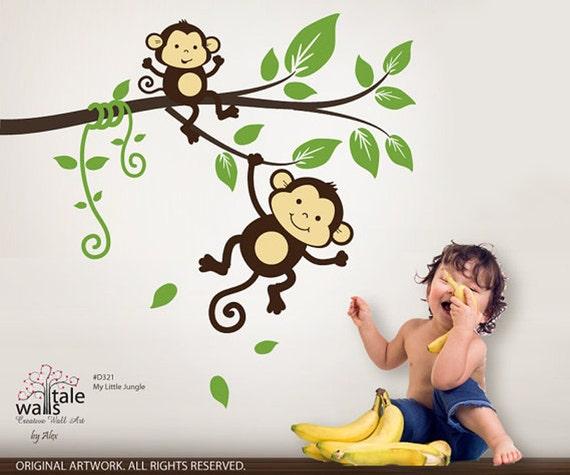 SALE Monkey wall decal, My little jungle monkeys wall decal