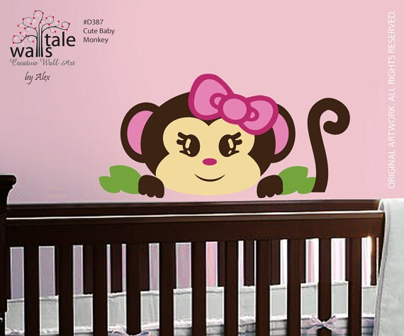 wall decal monkey wall decal cute baby girl monkey for. Black Bedroom Furniture Sets. Home Design Ideas