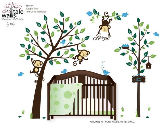 wall decal large jungle time wall decal with cute monkeys in. Black Bedroom Furniture Sets. Home Design Ideas