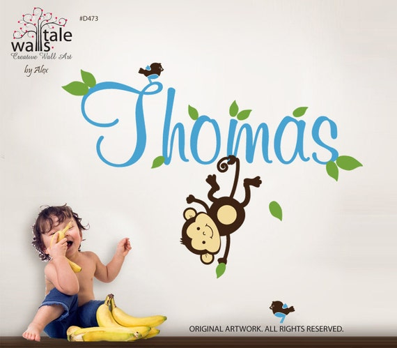 Monkey wall decal with name and little birds for girl or boy nursery.