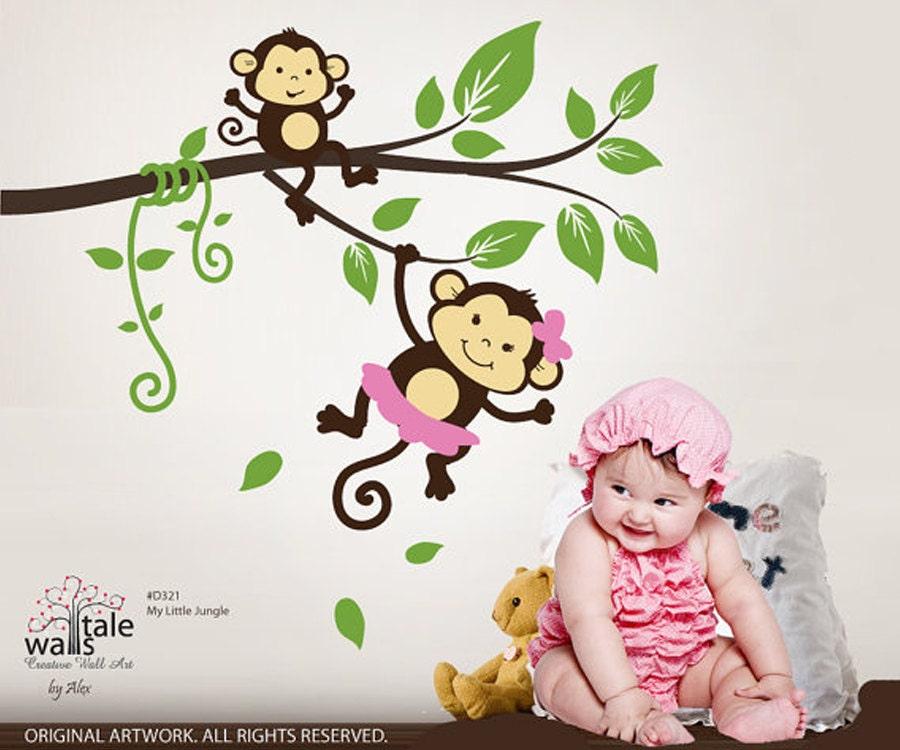 sale monkey wall decal my little jungle monkeys wall decal