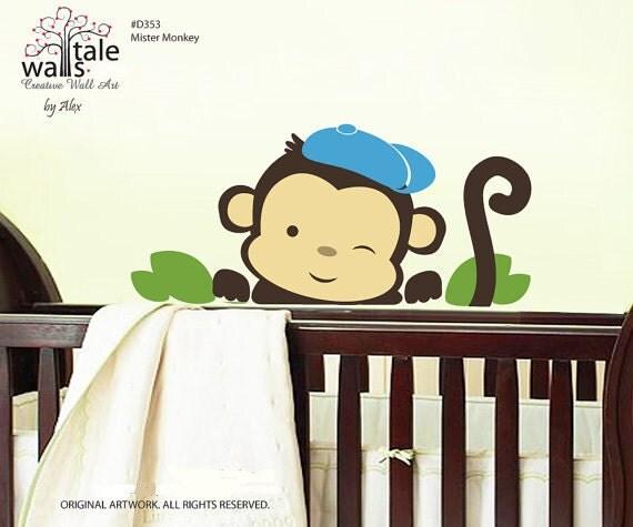 4 Cute Monkeys Wall Decals Sticker Nursery Decor Mural: Monkey Decal For Baby Boys Nursery Boys Wall Stickers