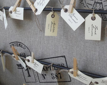 Custom Printed Vintage Shabby Chic Mail Tag Escort Cards / Place Cards