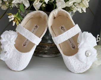 Baby Girl Shoes Toddler Girl Shoes Soft Soled Shoes Wedding Shoes Flower Girl Shoes White Shoes Cream Shoes Lace Shoes Summer Shoes-Emilia