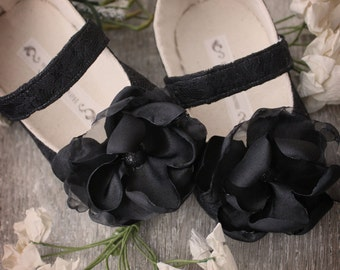 Baby Girl Shoes Toddler Girl Shoes Soft Soled Shoes Wedding Shoes Flower Girl Shoes Black Shoes Lace Shoes Evalyne