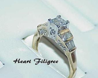 14K .50ct Princess Diamond Baguette Ring 2 tone Size 5.75 Heart Filigree