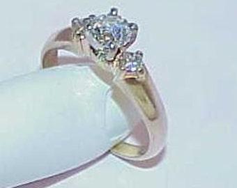 Antique 14K .65ct 3 Diamond Ring European Solitaire 2 Princess Cut Sides Sz 7.5