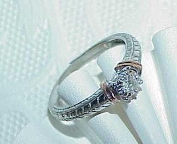 10K .10Ct Diamond Solitaire Ring Engagement  Sz7 Antique 2Tone Art Deco Reviaval